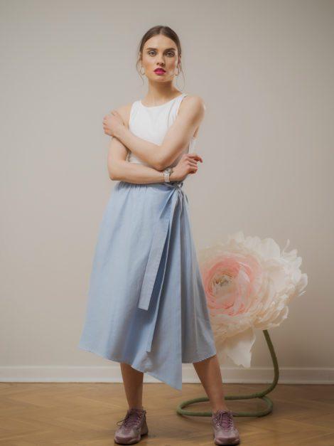 Spódnica bawełniana asymetryczna blue