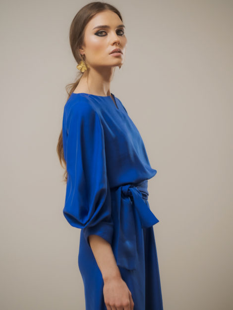 Sukienka wiskozowa elegancka chabrowa3