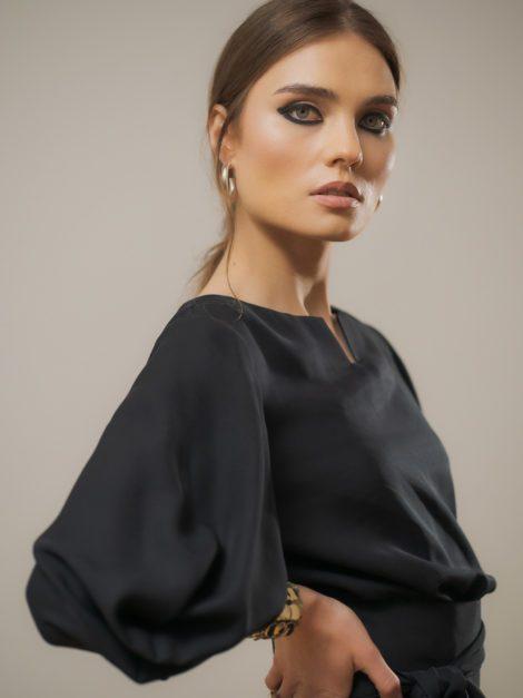 Sukienka wiskozowa elegancka czarna 4