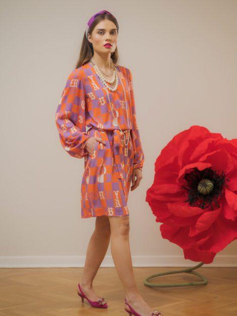Sukienka wiskozowa pomarańczowo-fioletowa1