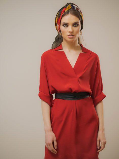 Sukienka z dekoldem V ceglana2
