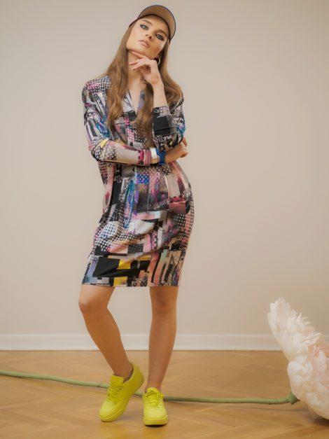 Sukienka z dekoldem V dzianinowa1