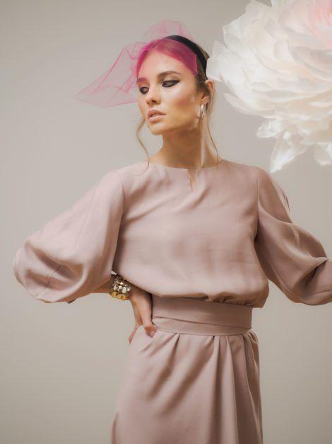 Sukienka wiskozowa elegancka brudny róż1